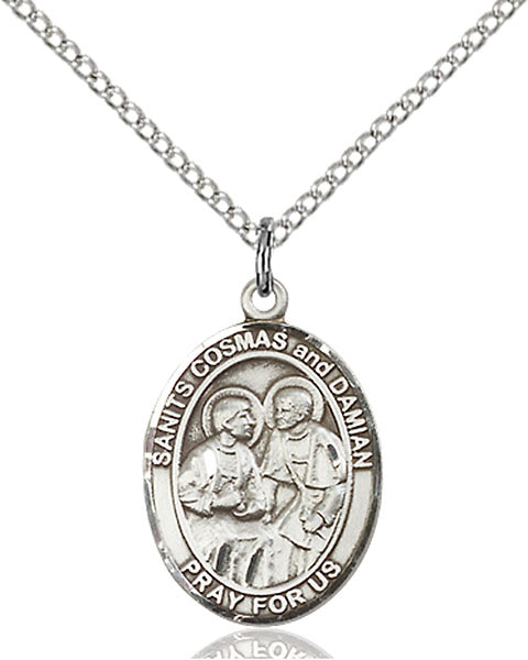 Sterling Silver Sts. Cosmas and Damian Necklace Set