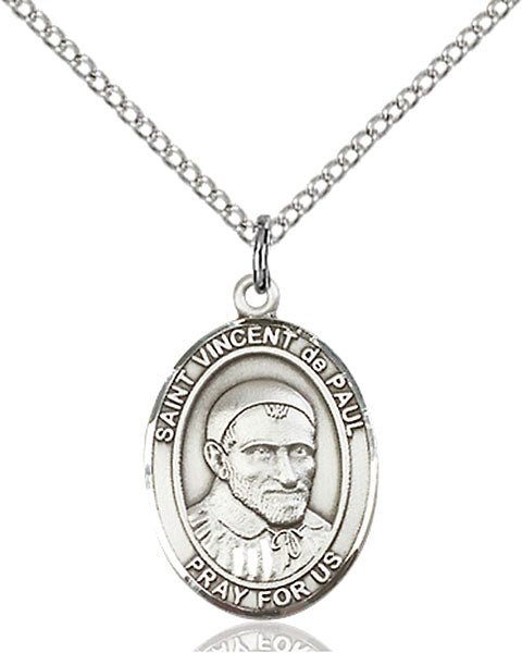 Sterling Silver Saint Vincent De Paul Necklace Set
