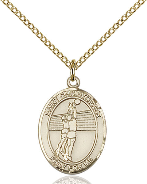 Gold-Filled Saint Christopher Volleyball Necklace Set