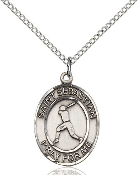 Sterling Silver Saint Sebastian Baseball Necklace Set