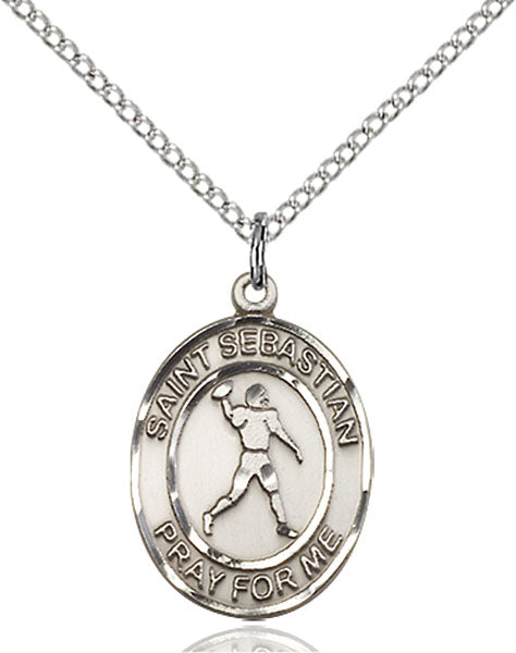 Sterling Silver Saint Sebastian Football Necklace Set