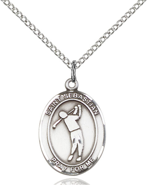 Sterling Silver Saint Sebastian Golf Necklace Set
