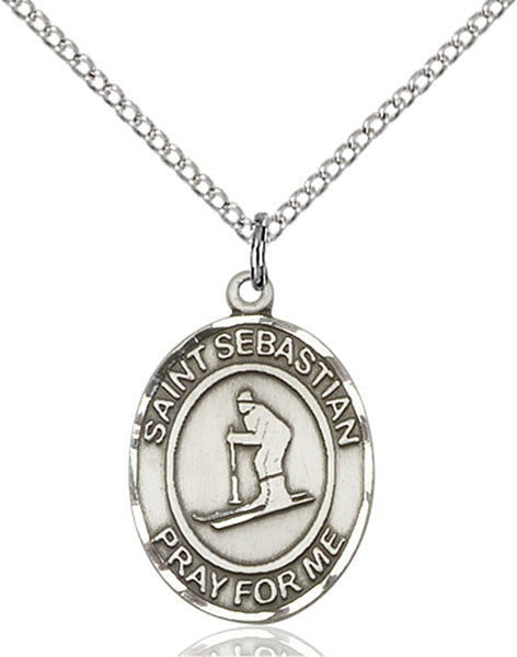 Sterling Silver Saint Sebastian Skiing Necklace Set