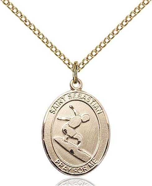 Gold-Filled Saint Sebastian Surfing Necklace Set