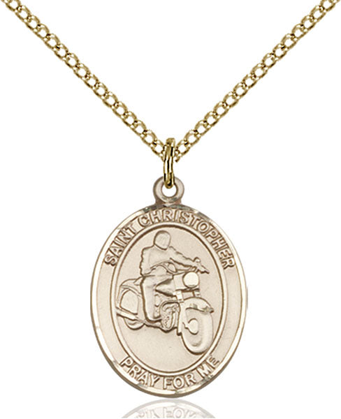Gold-Filled Saint Christopher Motorcycle Necklace Set