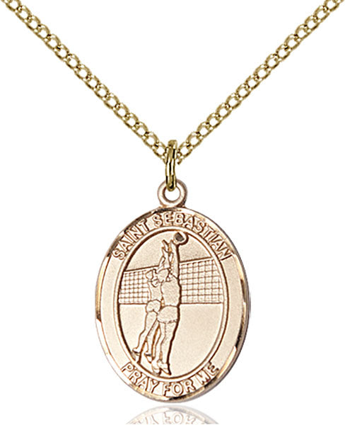 Gold-Filled Saint Sebastian Volleyball Necklace Set