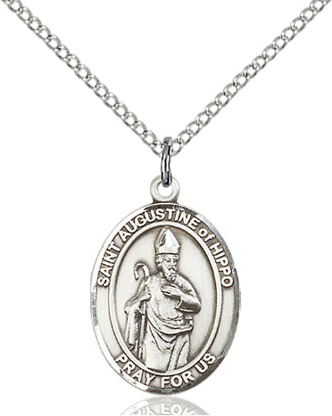 Sterling Silver Saint Augustine of Hippo Necklace Set