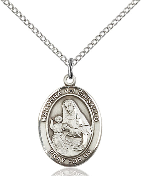 Sterling Silver Saint Madonna Del Ghisallo Necklace Set