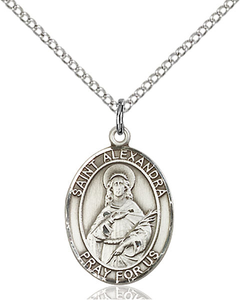 Sterling Silver Saint Alexandra Necklace Set