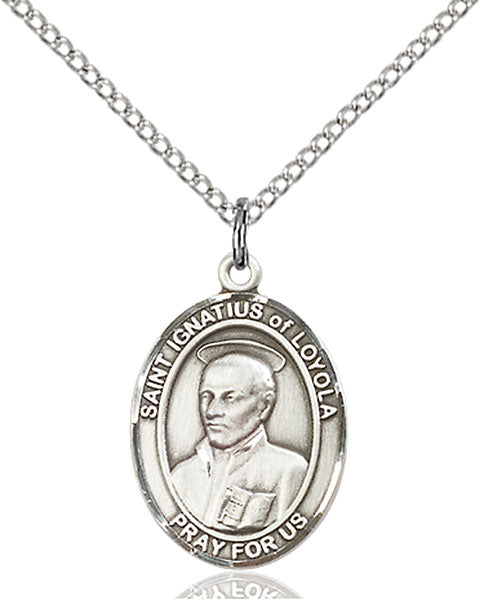 Sterling Silver Saint Ignatius of Loyola Necklace Set