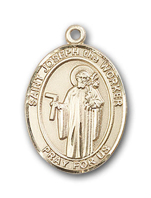 14K Gold Saint Joseph The Worker Pendant