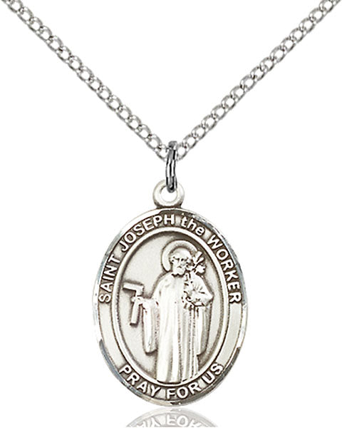 Sterling Silver Saint Joseph The Worker Necklace Set