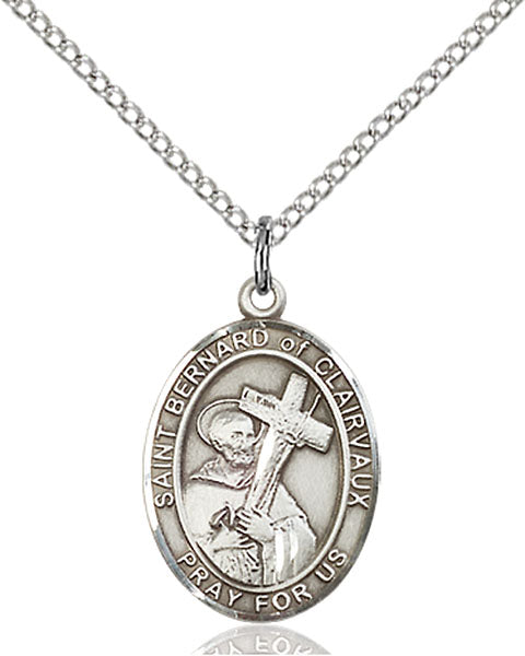Sterling Silver Saint Bernard of Clairvaux Necklace Set