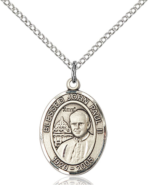 Sterling Silver Pope John Paul II Necklace Set