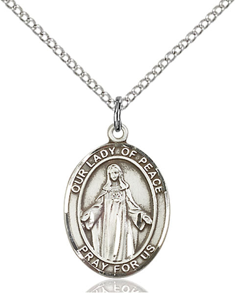 Sterling Silver Our Lady of Peace Necklace Set