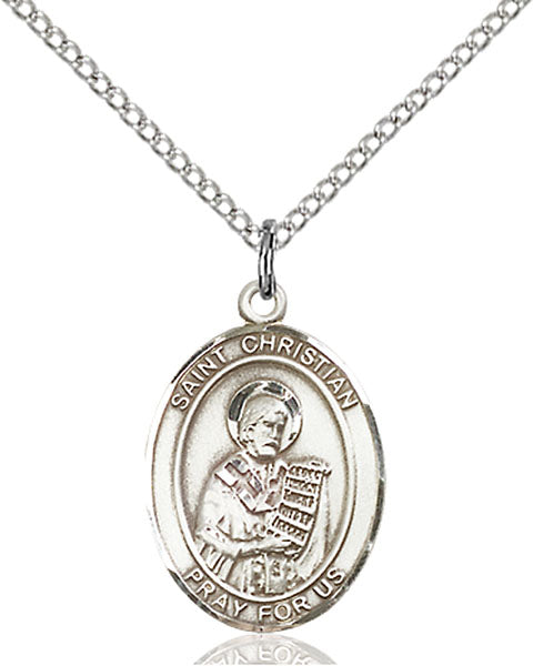 Sterling Silver Saint Christian Demosthenes Necklace Set