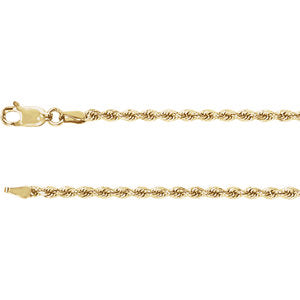 7-inch Diamond Cut Rope Bracelet with Lobster Clasp - 14K Yellow Gold