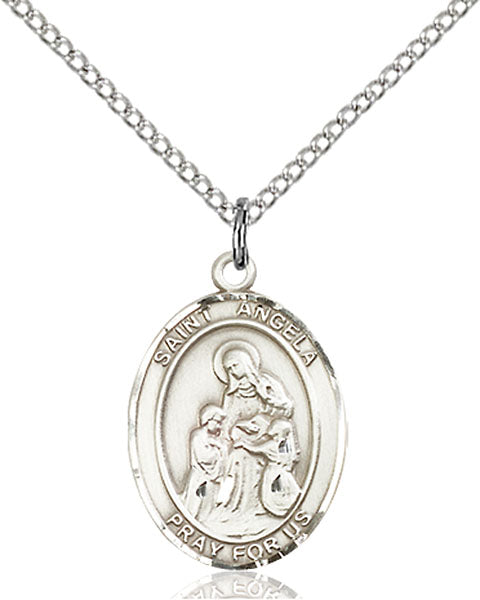 Sterling Silver Saint Angela Merici Necklace Set