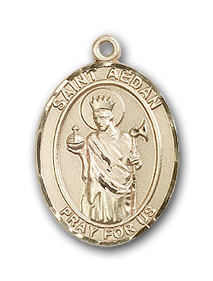 14K Gold Saint Aedan of Ferns Pendant
