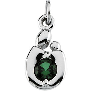 14K White Gold Mother and Child May Birthstone Charm
