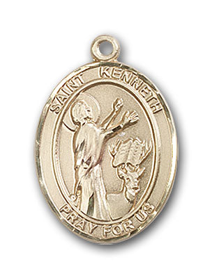 14K Gold Saint Kenneth Pendant