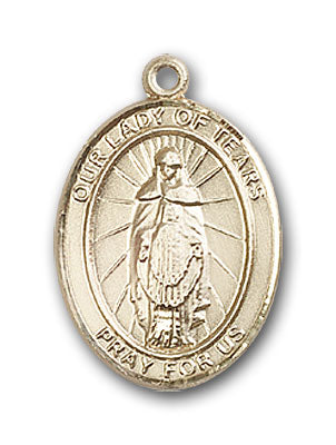 14K Gold OUR LADY of Tears Pendant