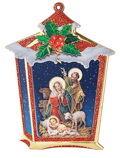 Nativity Lantern with Holly Standing Plaque