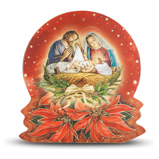 Gold Embossed Nativity Plaque With Poinsettia