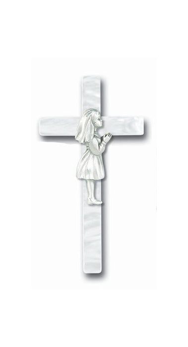 7-inch Pearlized Communion Girl Cross