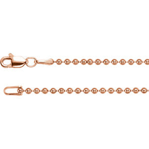 18-inch Bead Chain with Lobster Clasp - 14K Rose