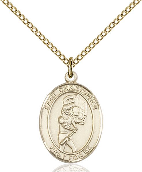 Gold-Filled Saint Christopher Softball Necklace Set