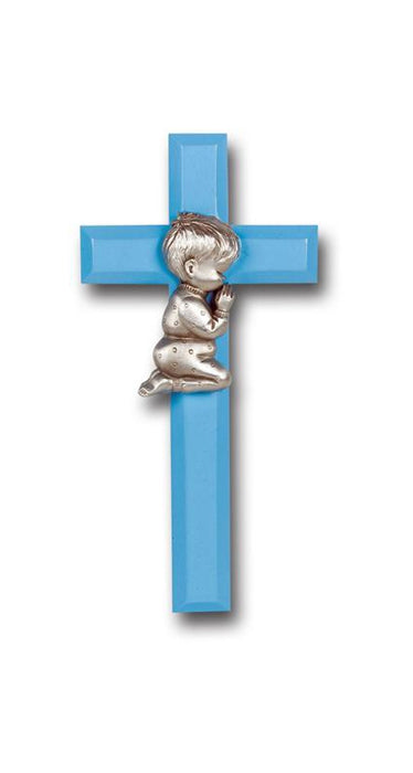 7-inch Blue Wood Cross With Praying Boy Pewter Figurineure