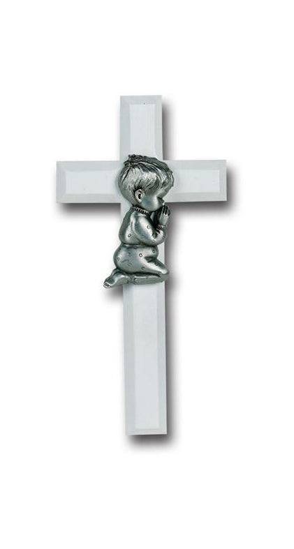 7-inch White Wood Cross With Pewter Praying Boy Figurineure