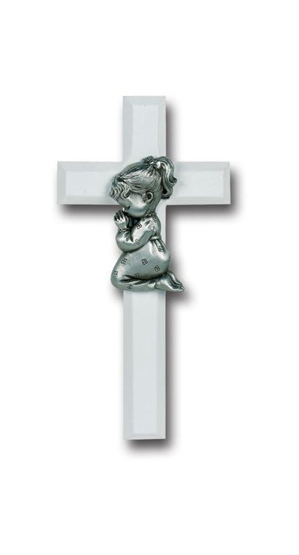 7-inch White Wood Cross With Pewter Praying Girl Fifure