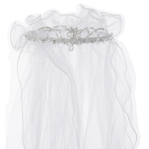 First Communion Pearl Trim Arched Princess Veil with Wired Ruffled Pouf