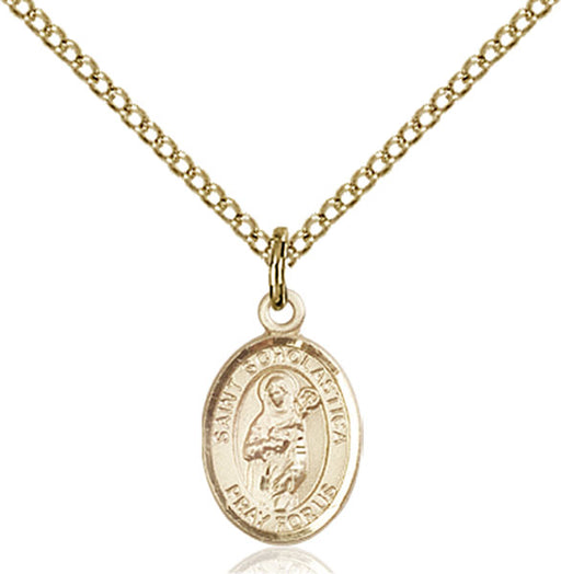 Gold-Filled Saint Scholastica Necklace Set