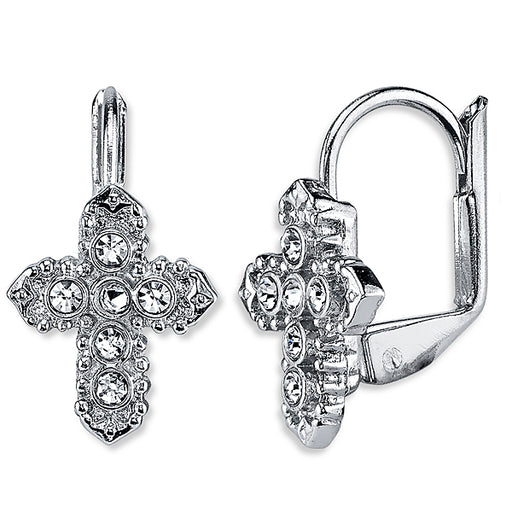 Silver-Tone Crystal Cross Leverback Earrings