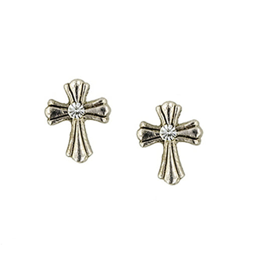 Silver-Tone Crystal Cross Stud Earrings