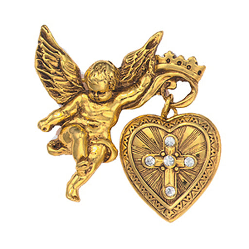 14K Gold-Dipped Crystal Glory of the Cross Fob Locket Brooch