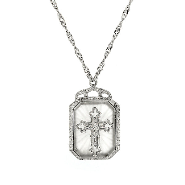 Silver-Tone Frosted Stone with Crystal Cross Large Pendant Necklace