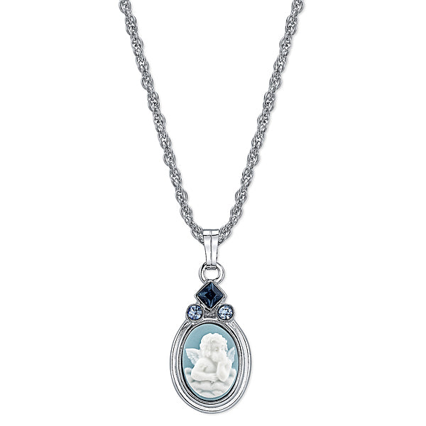 Silver-Tone Light and Dark Blue Crystal Raphaels Angel Pendant Necklace
