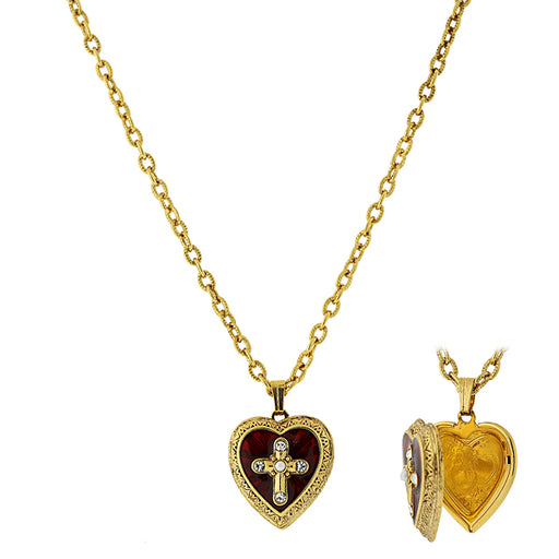 14K Gold-Dipped Red Enamel Cross of Glory Heart Locket Necklace