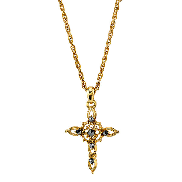 14K Gold-Dipped Imitation Marcasite Cross Pendant Necklace