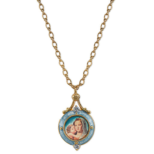 14K Gold-Dipped Blue Enamel Mary and Child Locket Necklace