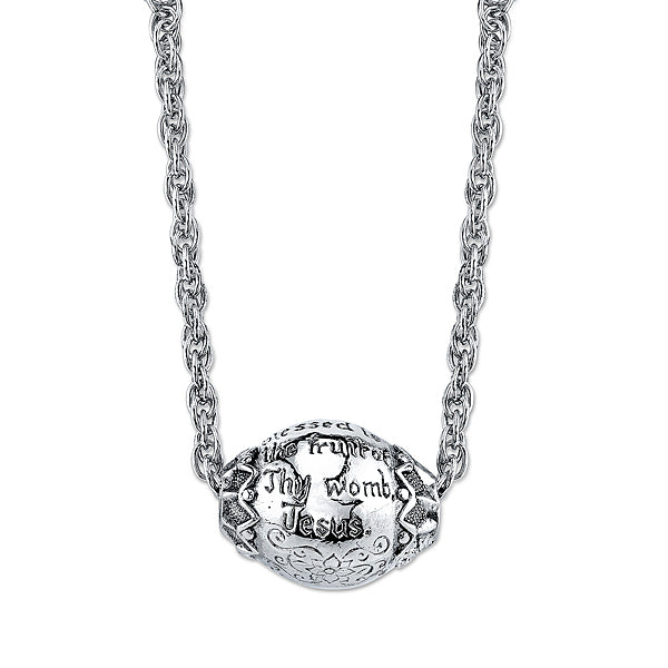 Silver-Tone Hail Mary Prayer Bead Necklace