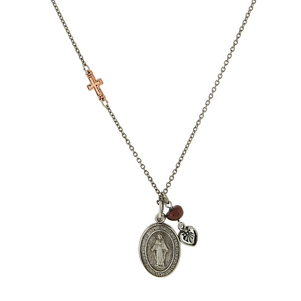 Mixed Metal Miraculous Medal Sliding Locket Charm Necklace
