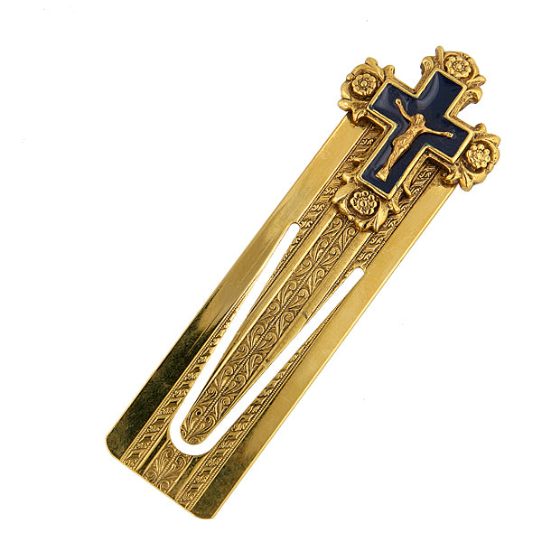 14K Gold-Dipped and Blue Enamel Crucifix Small Bookmark