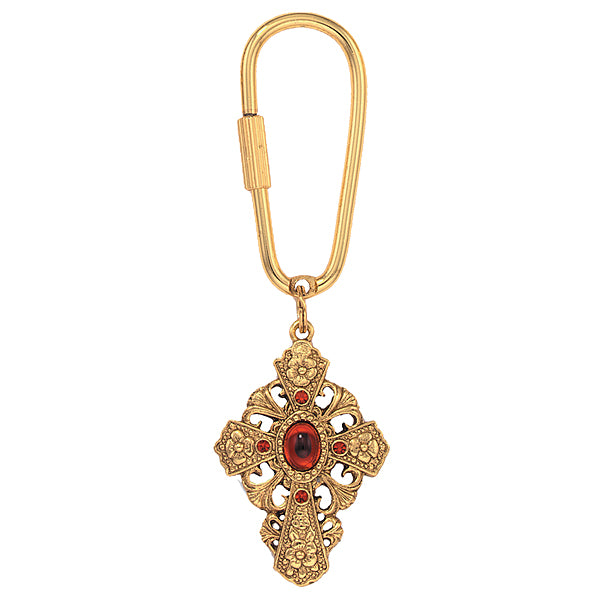 14K Gold-Dipped Red Stone and Crystal Cross Key Fob