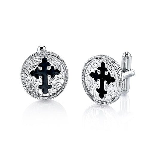 Silver-Tone Black Enamel Cross Round Cuff Links