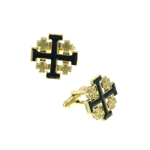14K Gold-Dipped Black Enamel Jerusalem Cross Cuff Links